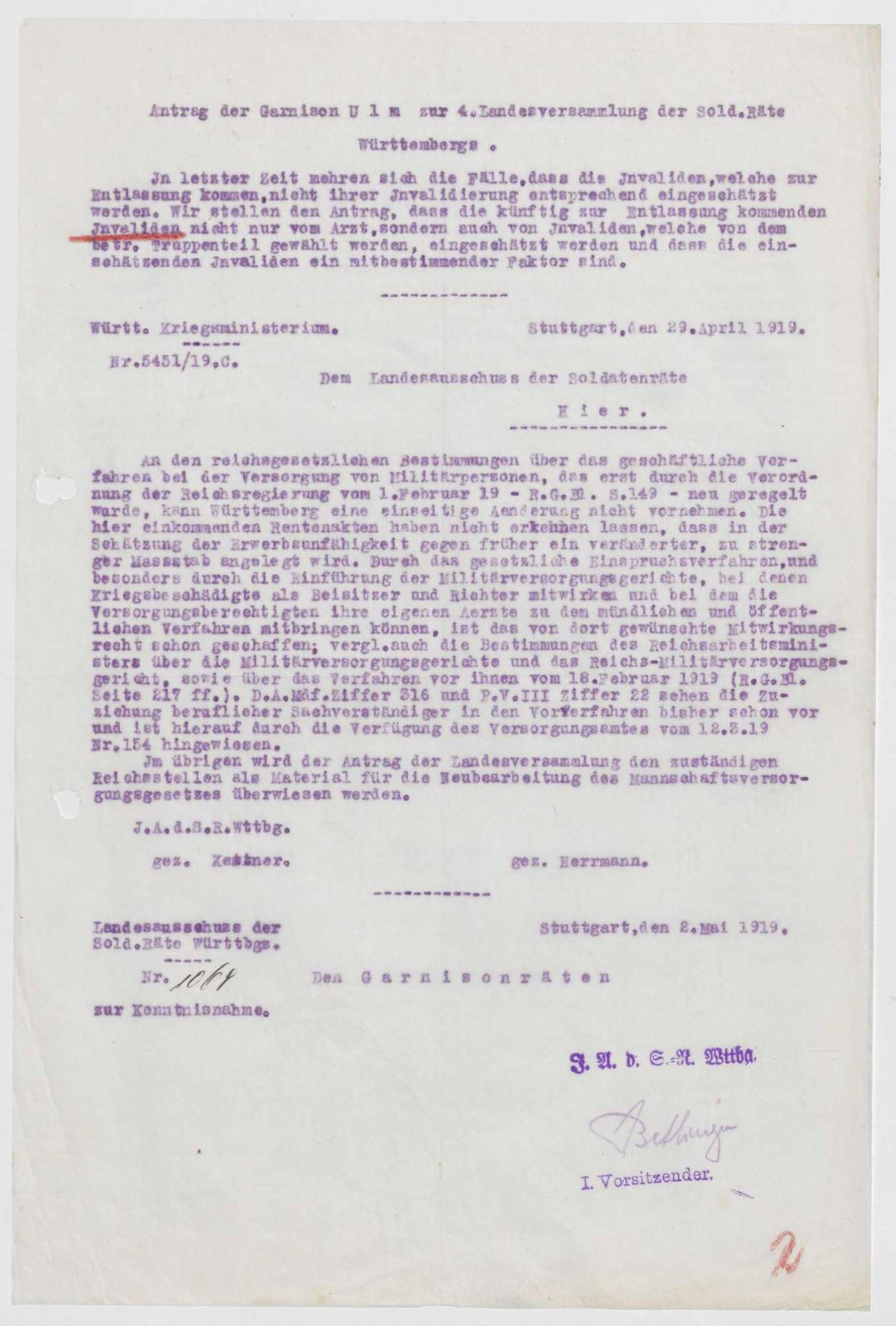Verfügungen zugunsten Kriegsbeschädigter, Bild 1