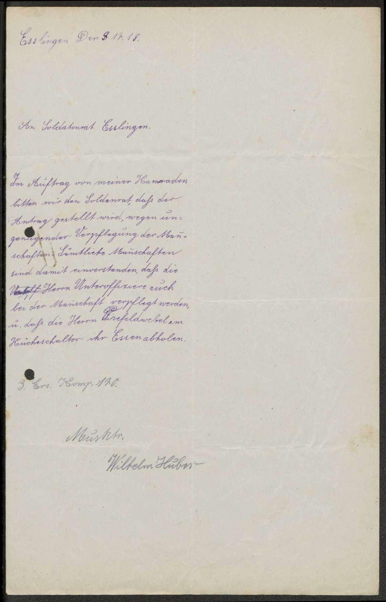 Kantineangelegenheiten beim Ersatz-Bataillon des Reserve-Infanterie-Regiments Nr. 246 bzw. 120 und Infanterie-Regiment Nr. 126, Bild 2