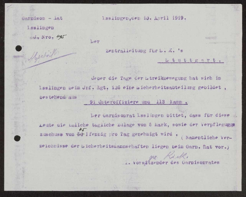 Nachträgliche Gewährung der Gebührnisse an die Sicherheitsabteilung beim Infanterie-Regiment Nr. 12 6 und die Sicherheitskompanie Nr. 5 während des Generalstreiks, Bild 1