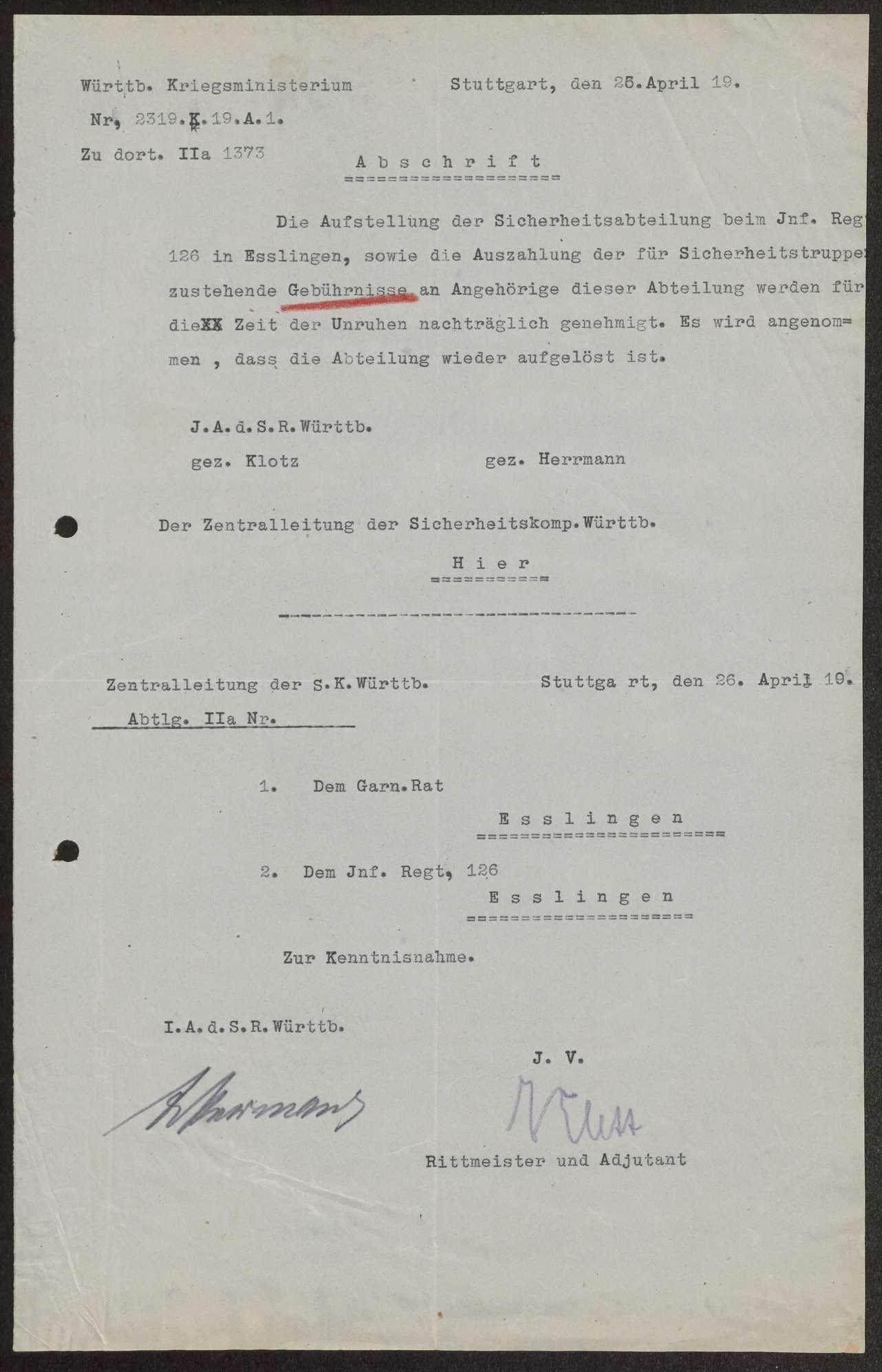 Nachträgliche Gewährung der Gebührnisse an die Sicherheitsabteilung beim Infanterie-Regiment Nr. 12 6 und die Sicherheitskompanie Nr. 5 während des Generalstreiks, Bild 2
