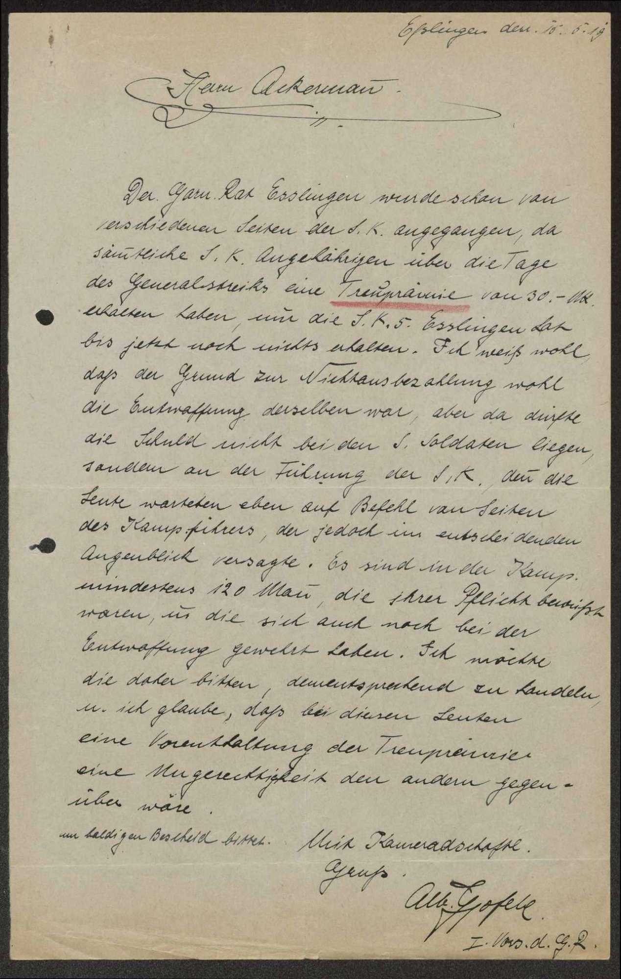 Nachträgliche Gewährung der Gebührnisse an die Sicherheitsabteilung beim Infanterie-Regiment Nr. 12 6 und die Sicherheitskompanie Nr. 5 während des Generalstreiks, Bild 3