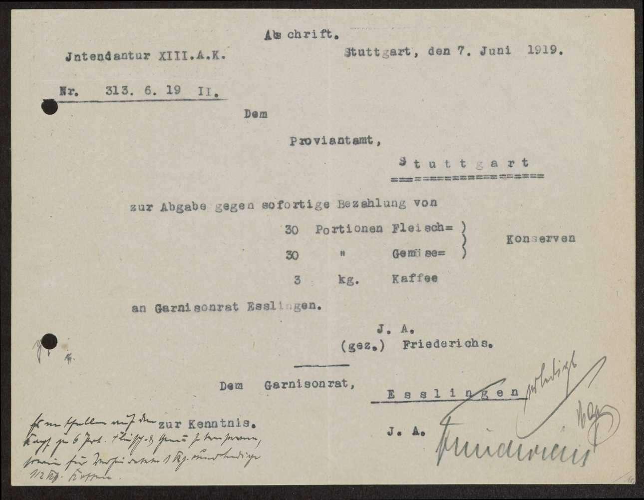 Abgabe von Nahrungsmittelkonserven und Kaffee an den Garnisonrat Esslingen zur Verteilung an die Truppen, Bild 2