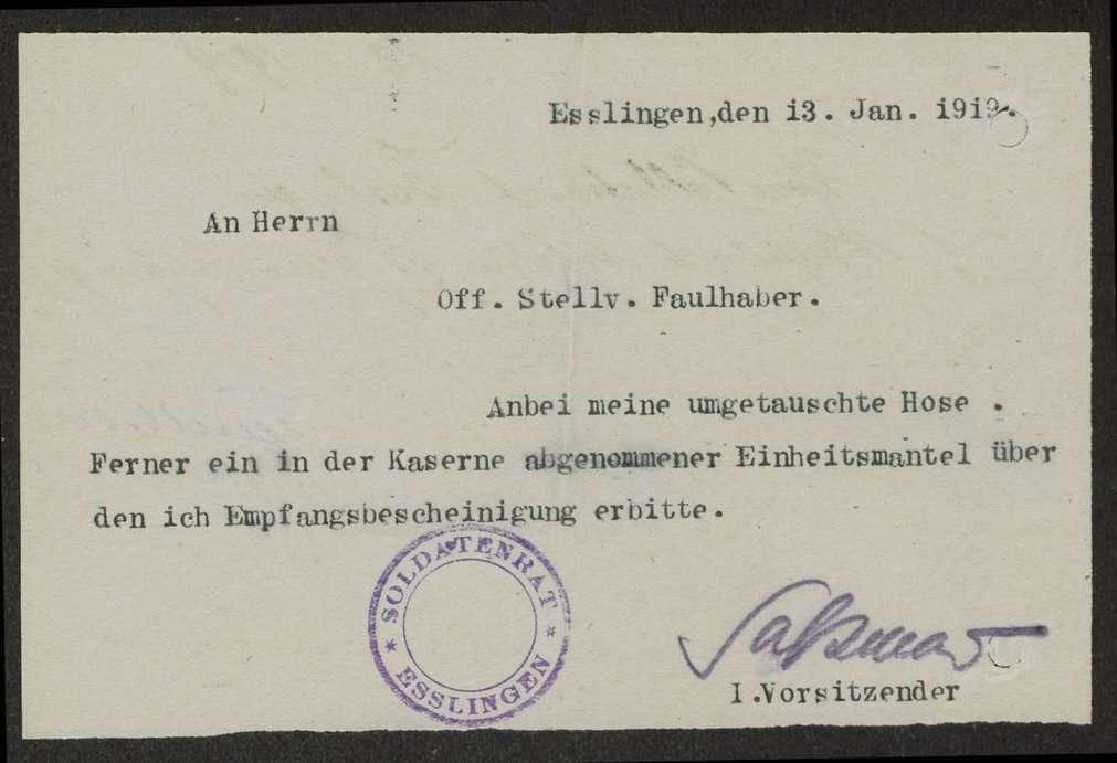Abgabe durch und Übersendung von Kleidungsstücken an die Bekleidungsstelle des Reserve-Infanterie-Regiments Nr. 120, Bild 1