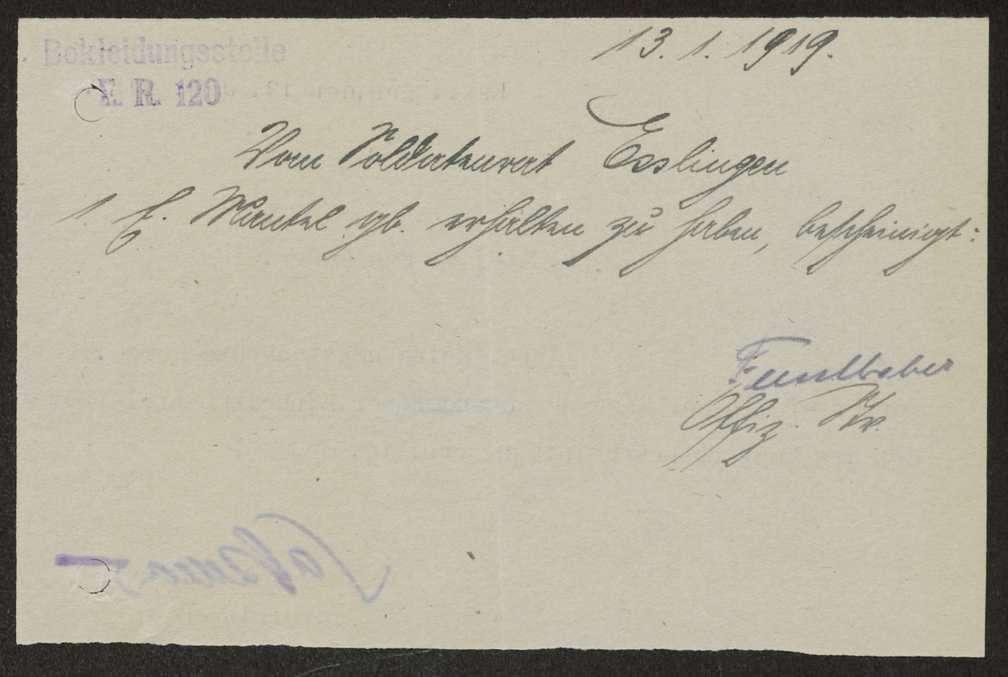 Abgabe durch und Übersendung von Kleidungsstücken an die Bekleidungsstelle des Reserve-Infanterie-Regiments Nr. 120, Bild 2