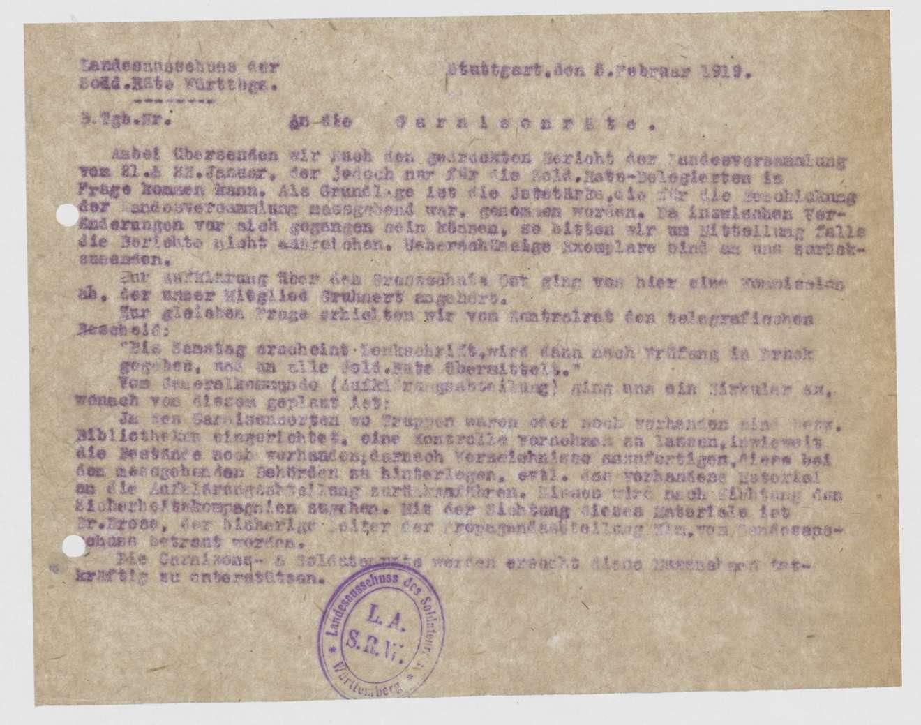 Einladungen, Ausweiskarten, Programm der 3.-4. Landesversammlung der Soldatenräte, Plan einer 5. Landesversammlung, Bild 2