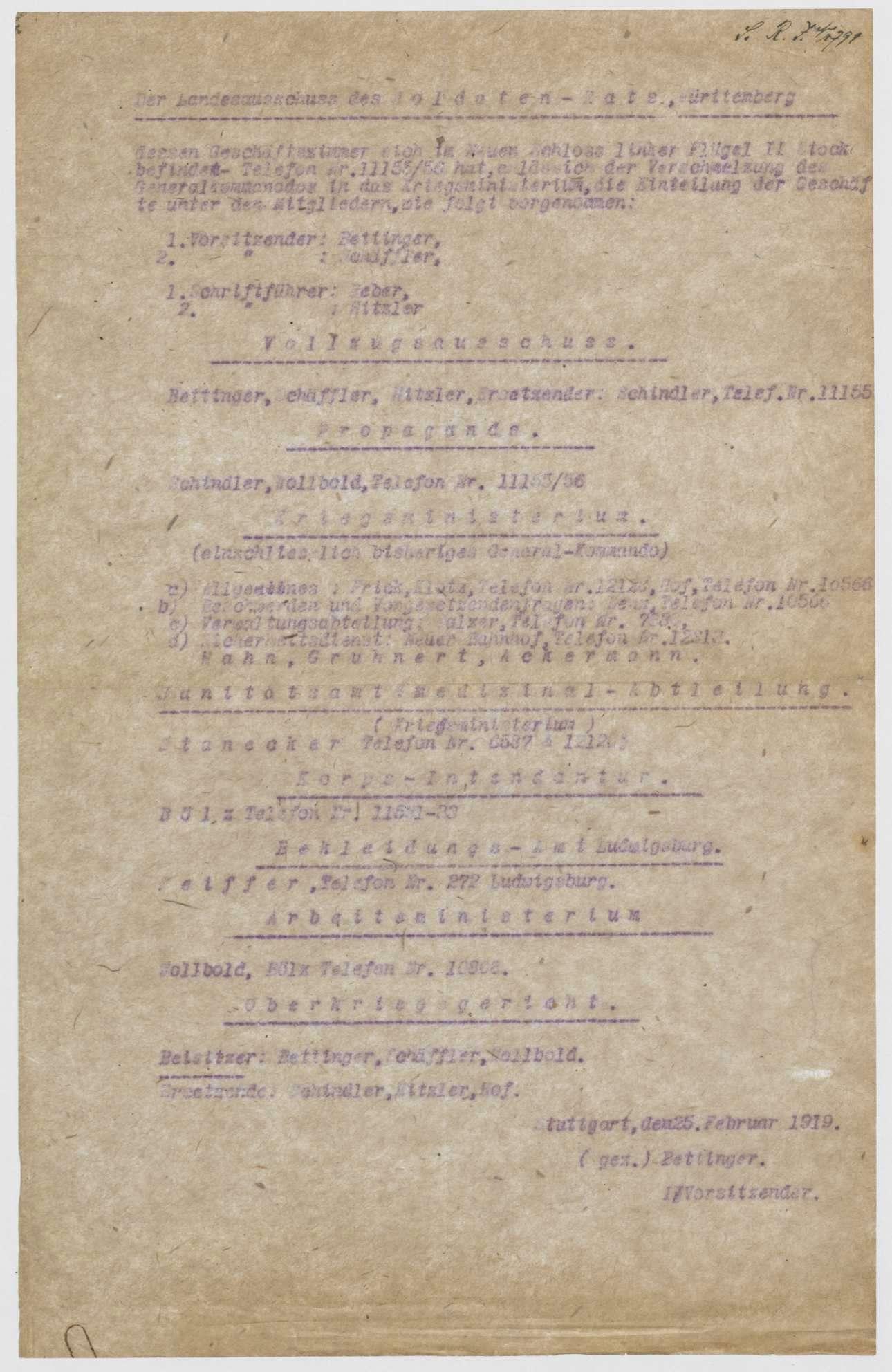 Geschäftsverteilungsplan des Landesausschusses der Soldatenräte, Bild 1