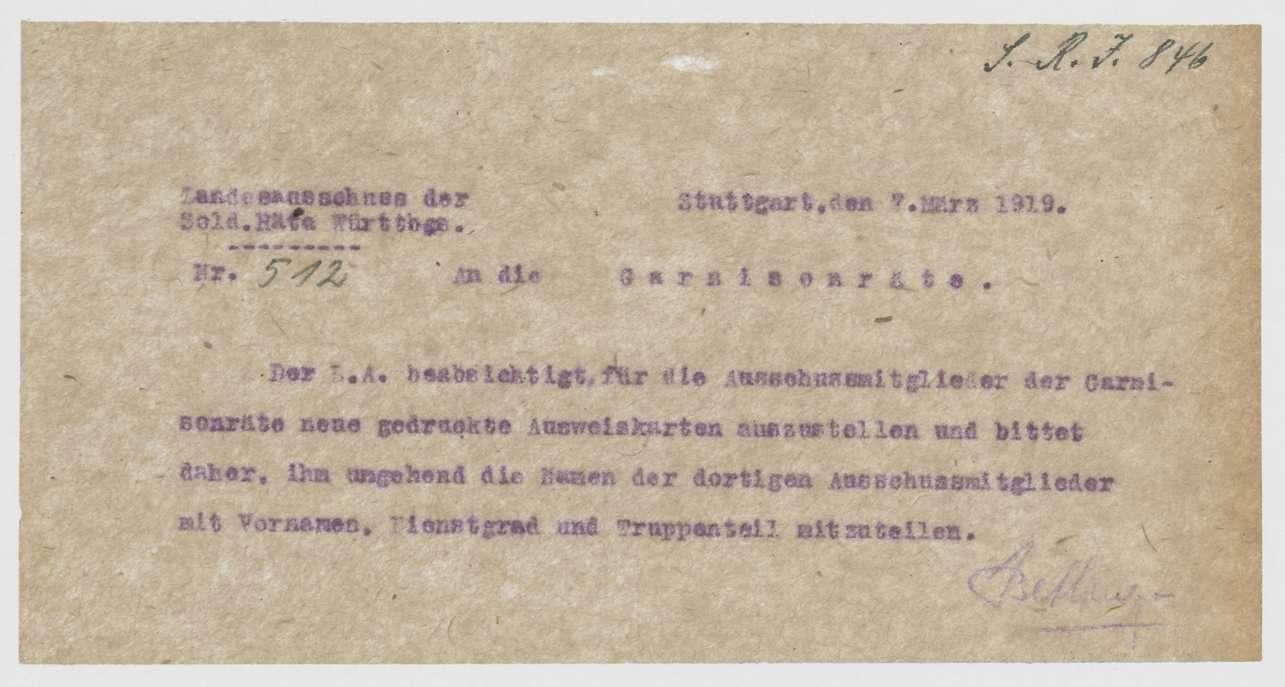Angelegenheiten einzelner Mitglieder des Garnisonrats, Übersendung von Ausweisen zur Erlangung von Militärfahrkarten, Bild 1