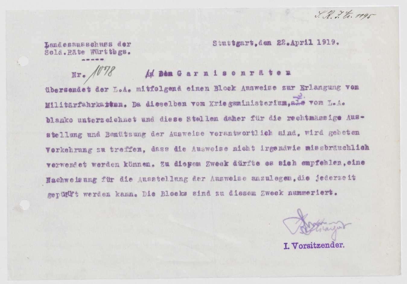 Angelegenheiten einzelner Mitglieder des Garnisonrats, Übersendung von Ausweisen zur Erlangung von Militärfahrkarten, Bild 2