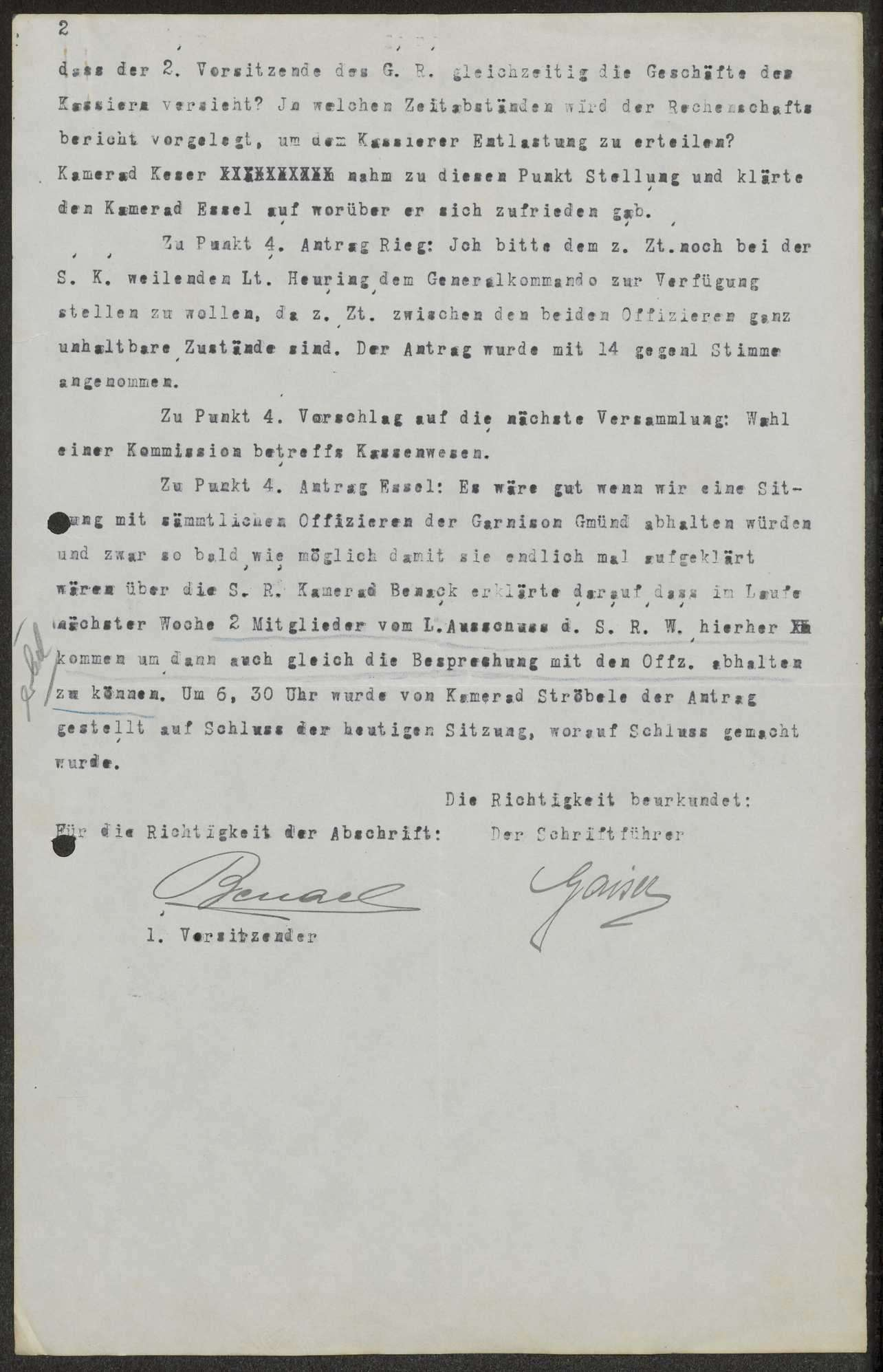 Protokoll und Tagesordnung der 10. und 11. Garnisonratssitzung, Bild 3