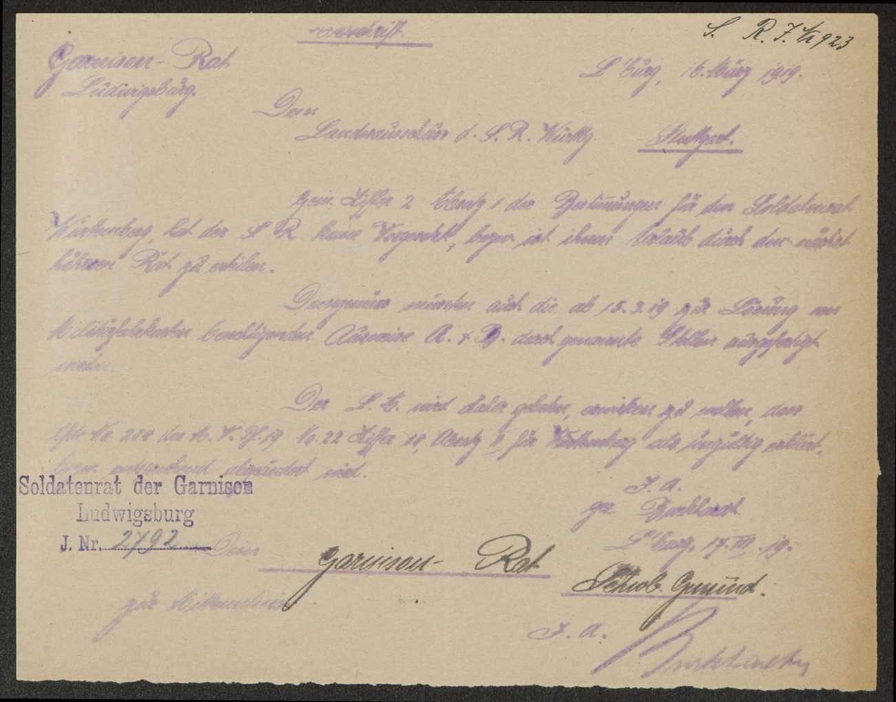 Mitteilung der Bemühungen des Garnisonrats Ludwigsburg über die Gewährung von Militärfahrscheinen für Soldatenratsraitglieder, Bild 1