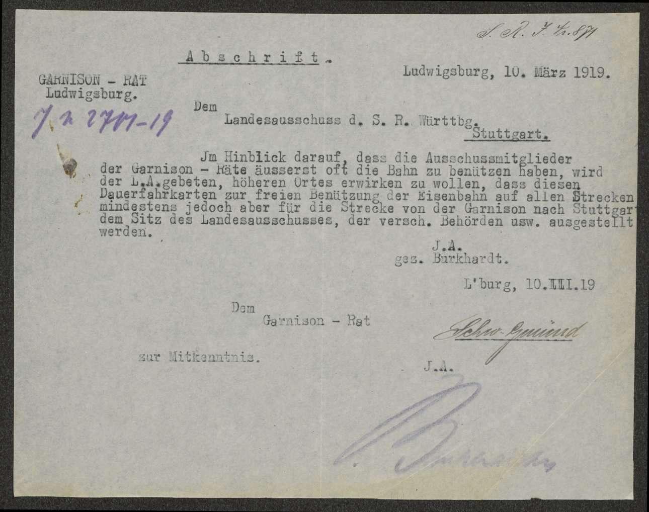 Mitteilung der Bemühungen des Garnisonrats Ludwigsburg über die Gewährung von Militärfahrscheinen für Soldatenratsraitglieder, Bild 2