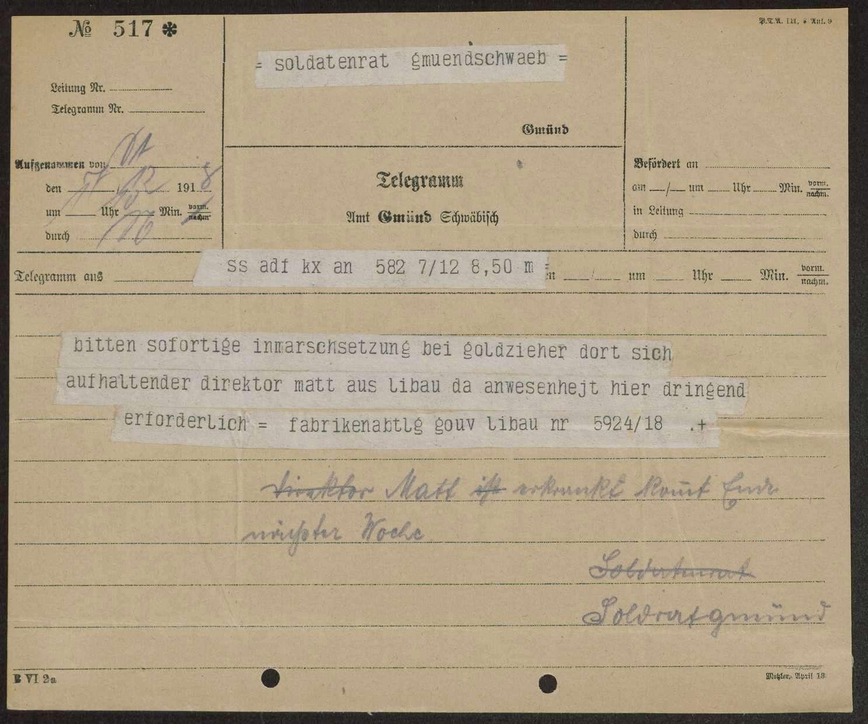 Bitte der Fabrikenabteilung Gouvernement Libau um sofortige Inmarschsetzung des Direktors Matt aus Libau, Bild 1