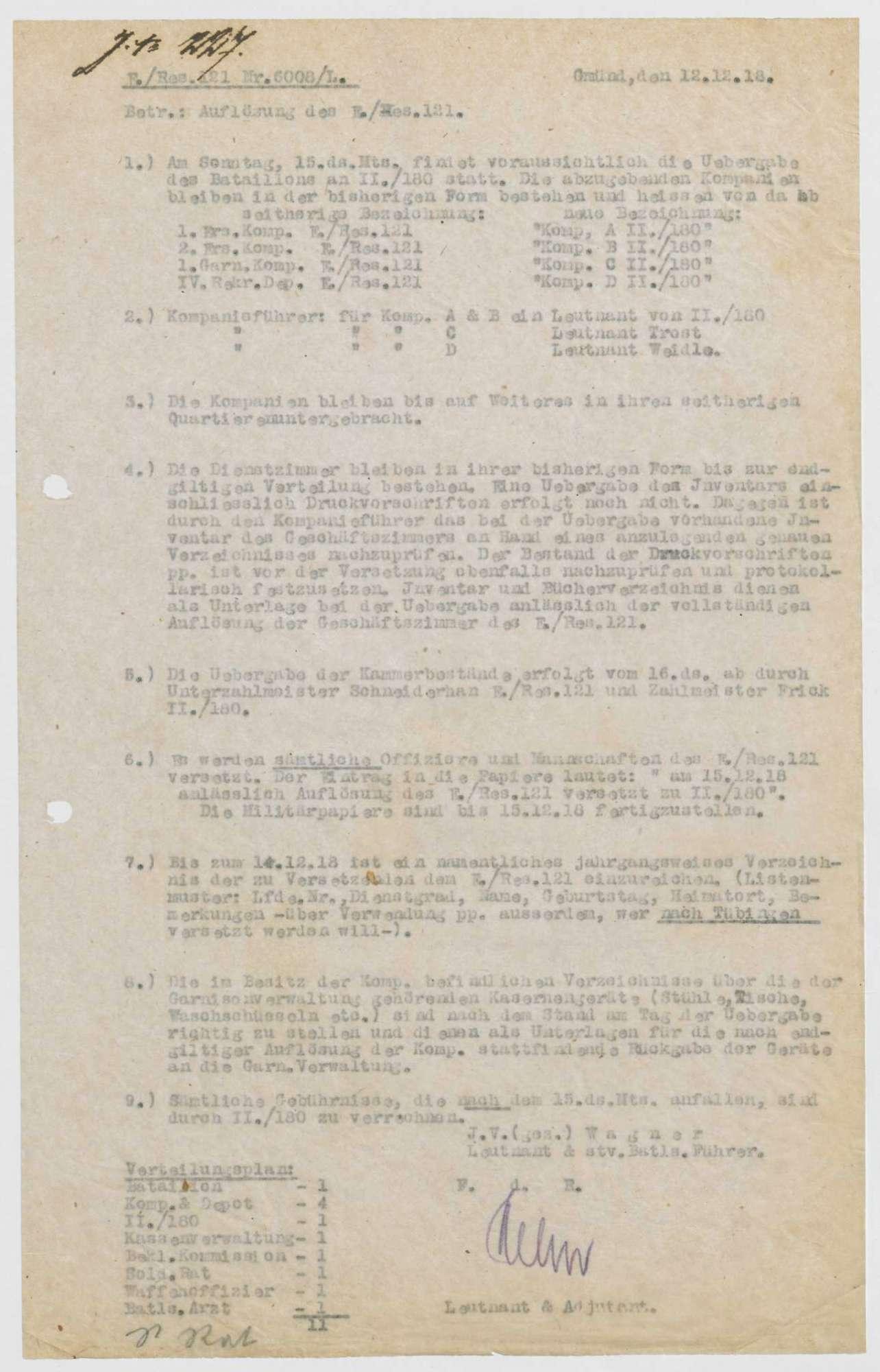 Auflösung des Ersatz-Bataillons des Reserve-Infanterie-Regiments Nr. 121 und Übergabe an das II. Bataillon des Infanterie-Regiments Nr. 180, Bild 1