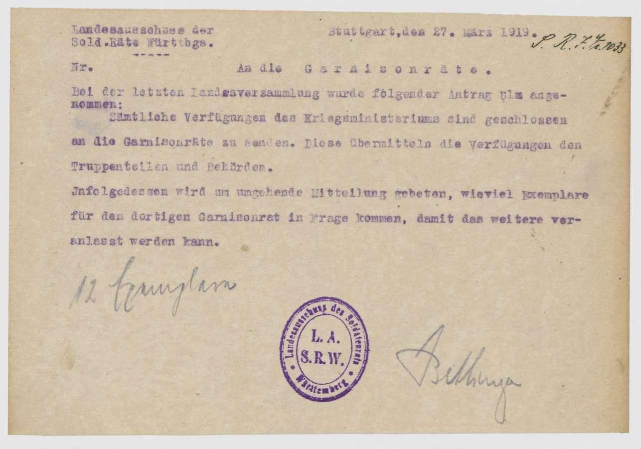 Zusendung von Verfügungen des Kriegsministers an die Garnisonräte, Übermittlung an die Truppenteile und Behörden, Bild 2