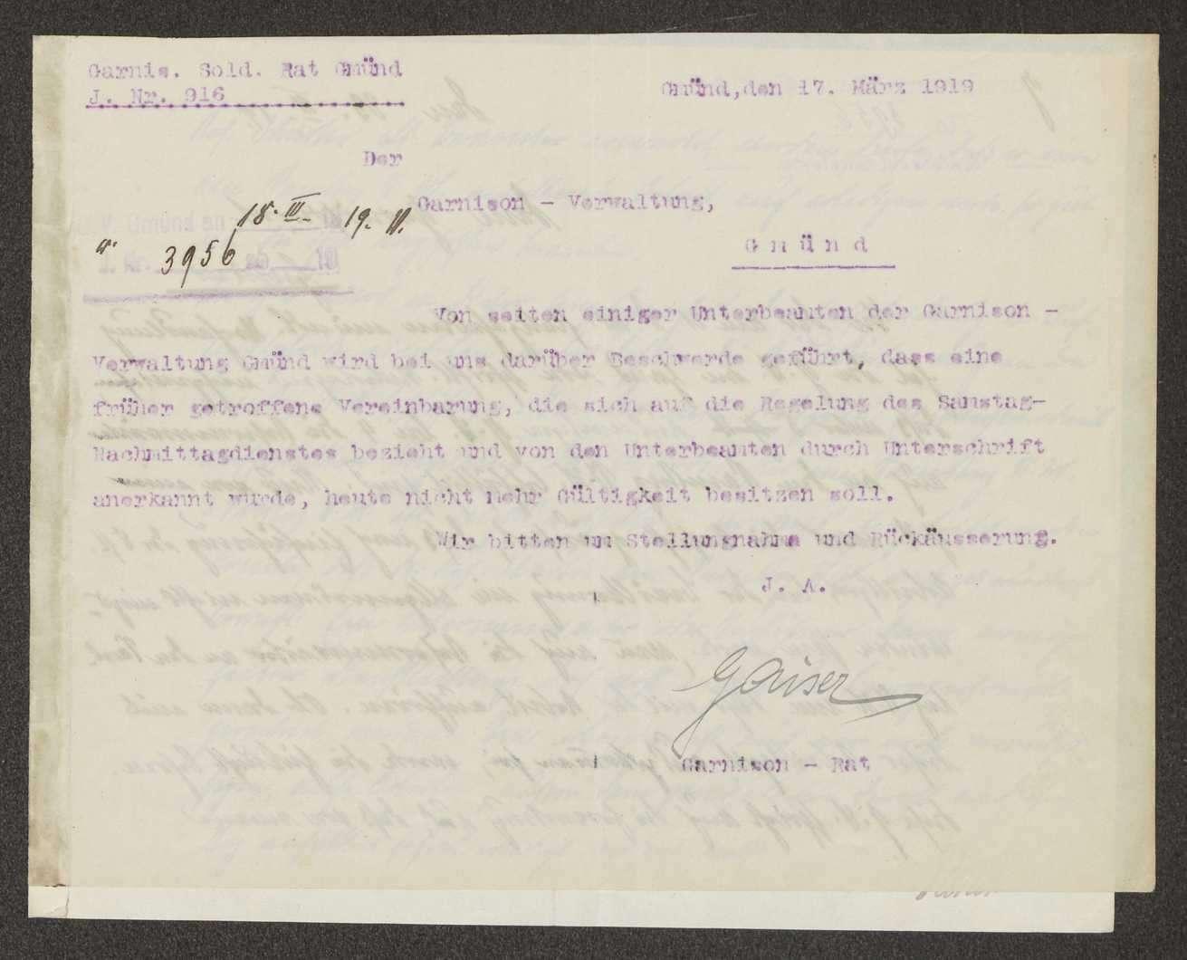 Regelung des Samstagnachitiittagsdienstes bei der Garnisonverwaltung, Bild 1
