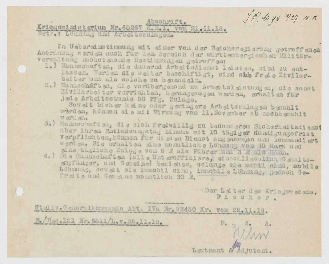 Festlegung der Arbeitszulagen für Unteroffiziere und Mannschaften, Gehälter der auf Privatvertrag angestellten Mannschaften, Bild 3