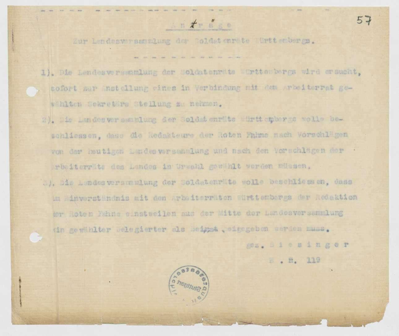 Einladung, Tages- und Geschäftsordnung, Berichte und Anträge zur 1., 2. und 3. Landesversammlung der Soldatenräte, Bild 2