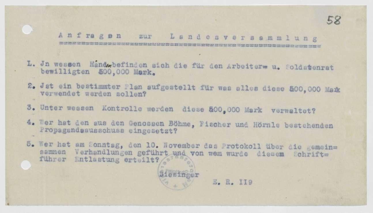 Einladung, Tages- und Geschäftsordnung, Berichte und Anträge zur 1., 2. und 3. Landesversammlung der Soldatenräte, Bild 3