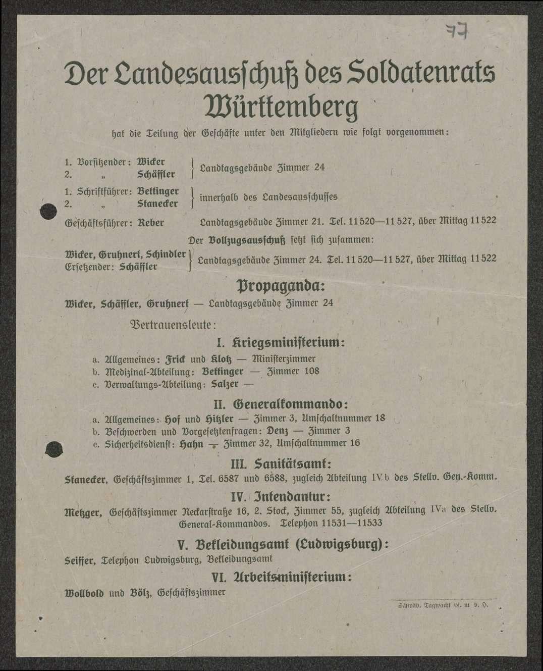 Bestimmung eines Mitglieds, Organisationsübersicht des Landesausschusses des Soldatenrats Württemberg, Bild 2