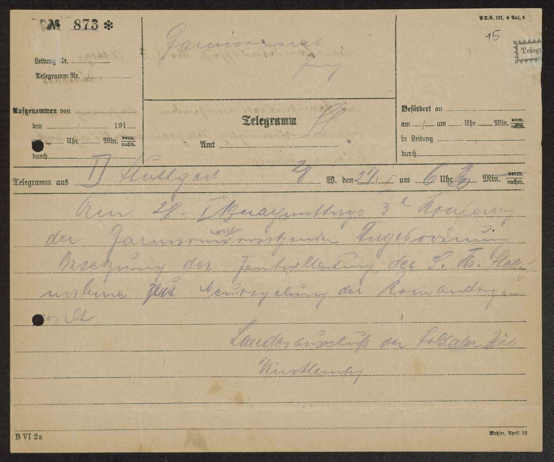 Sitzungen der Vorsitzenden der württembergischen Garnisonräte, Bild 1