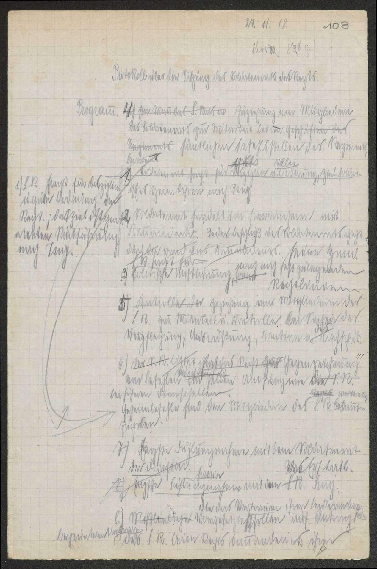 Sitzungsprotokolle des Soldatenrats des (Feld-)Gebirgsregiments, Bild 1