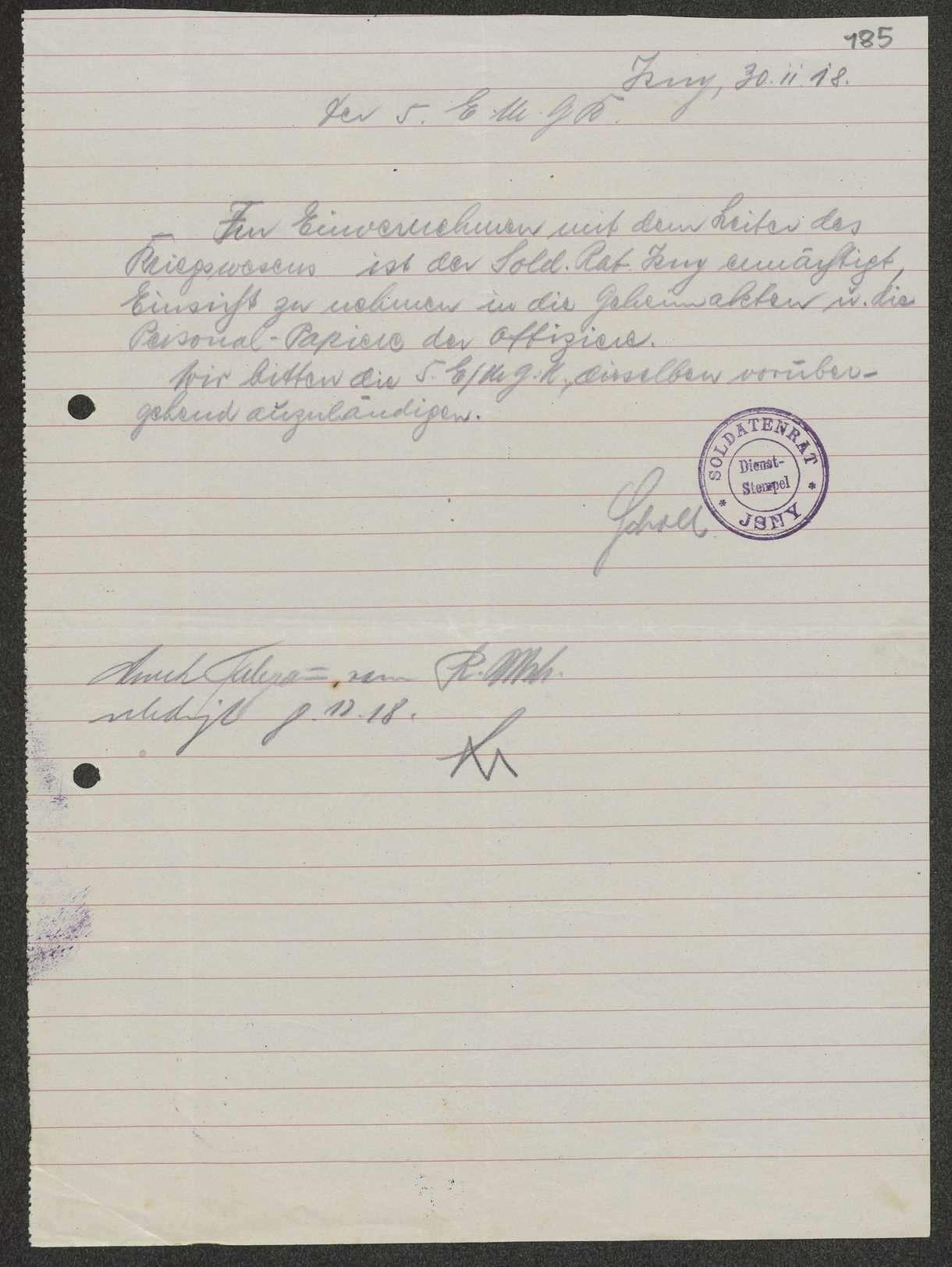 Rechte und Organisation der Soldatenräte in Württemberg, Organisationsstatut, Bestimmungen für den Soldatenrat in Württemberg, Bild 3