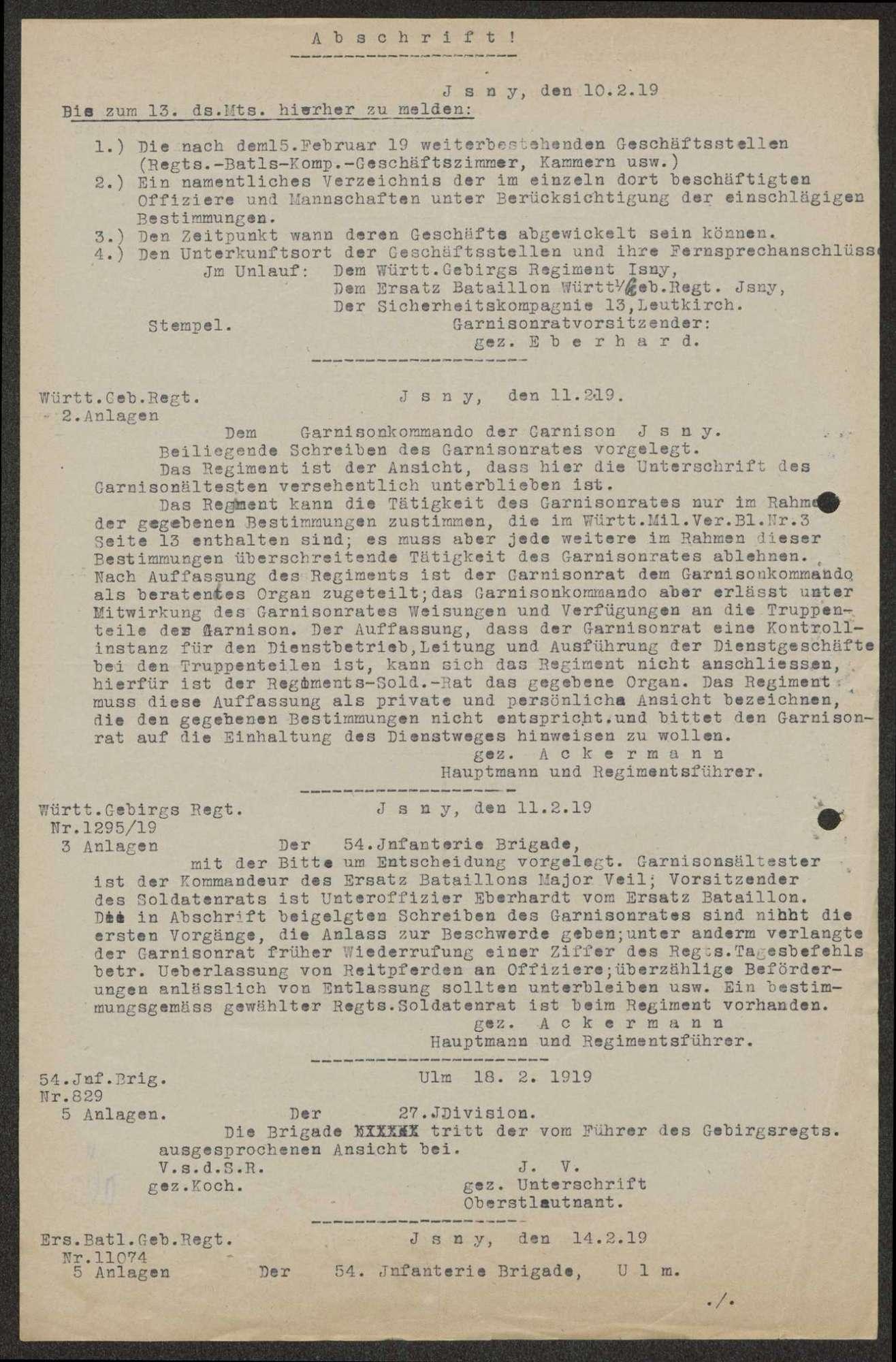 Nichtbeachtung der Gegenzeichnung durch den Soldatenrat, Beschwerde des Gebirgsregiments bzw. des Ersatz-Bataillons über unbefugte Eingriffe des Garnisonrats, Bild 3