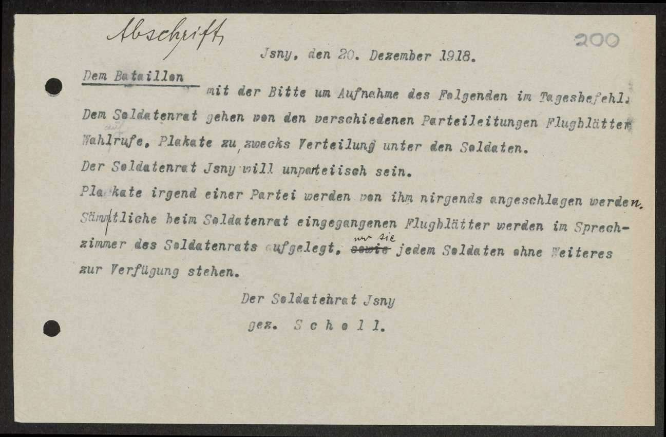 Herausgabe, Zusendung und Verteilung von Flugblättern, Auslage von Propagandamaterial der Parteien im Sprechzimmer des Soldatenrats, Bild 1