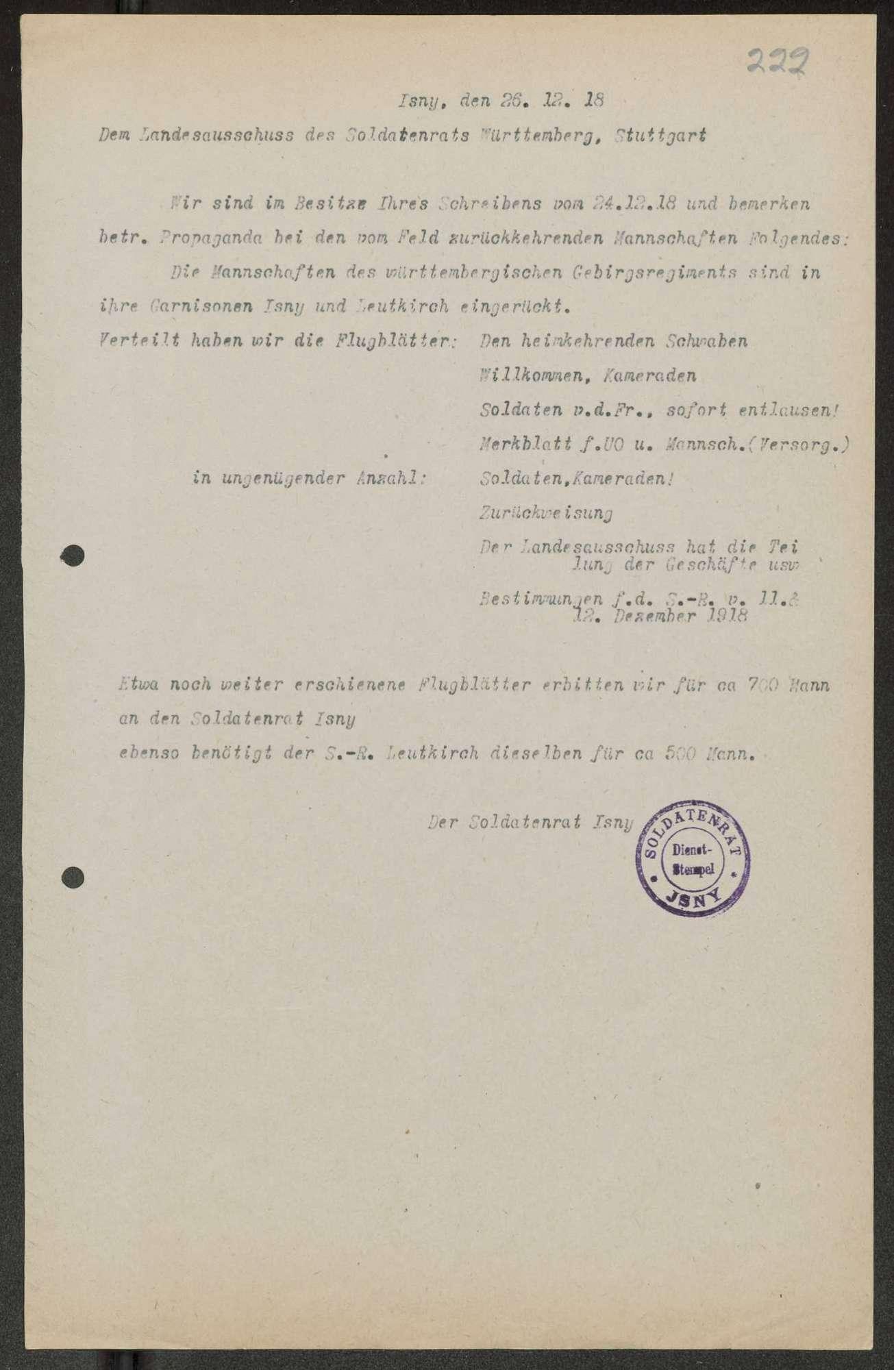 Herausgabe, Zusendung und Verteilung von Flugblättern, Auslage von Propagandamaterial der Parteien im Sprechzimmer des Soldatenrats, Bild 3