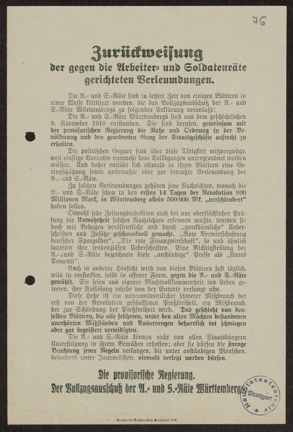 Maßnahmen gegen Verleumdungen der Arbeiter- und Soldatenräte in der Presse, Bild 1