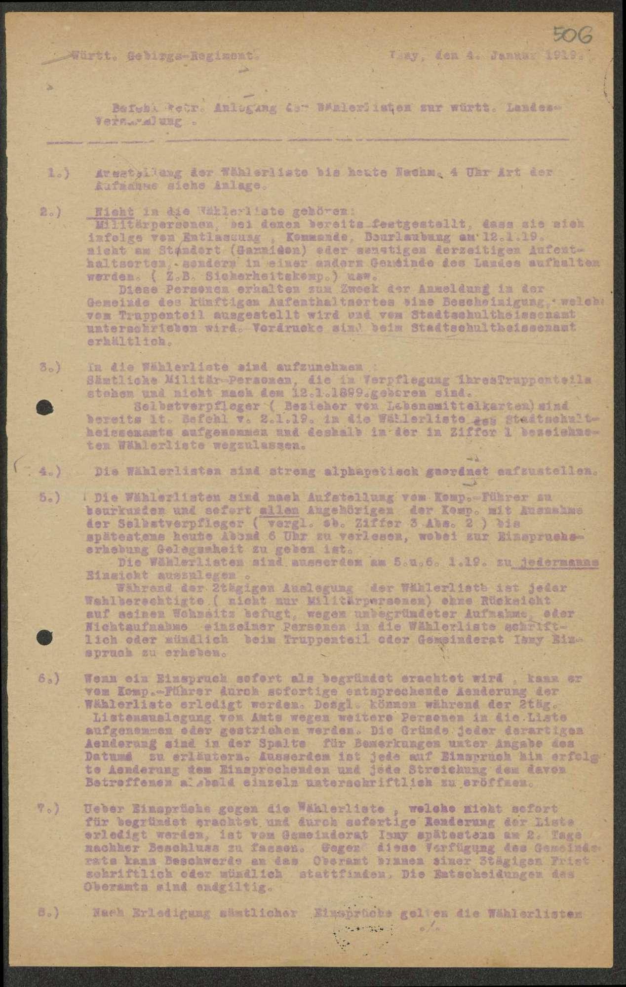 Anlegung von Wählerlisten zur württembergischen Landesversammlung, Bild 1