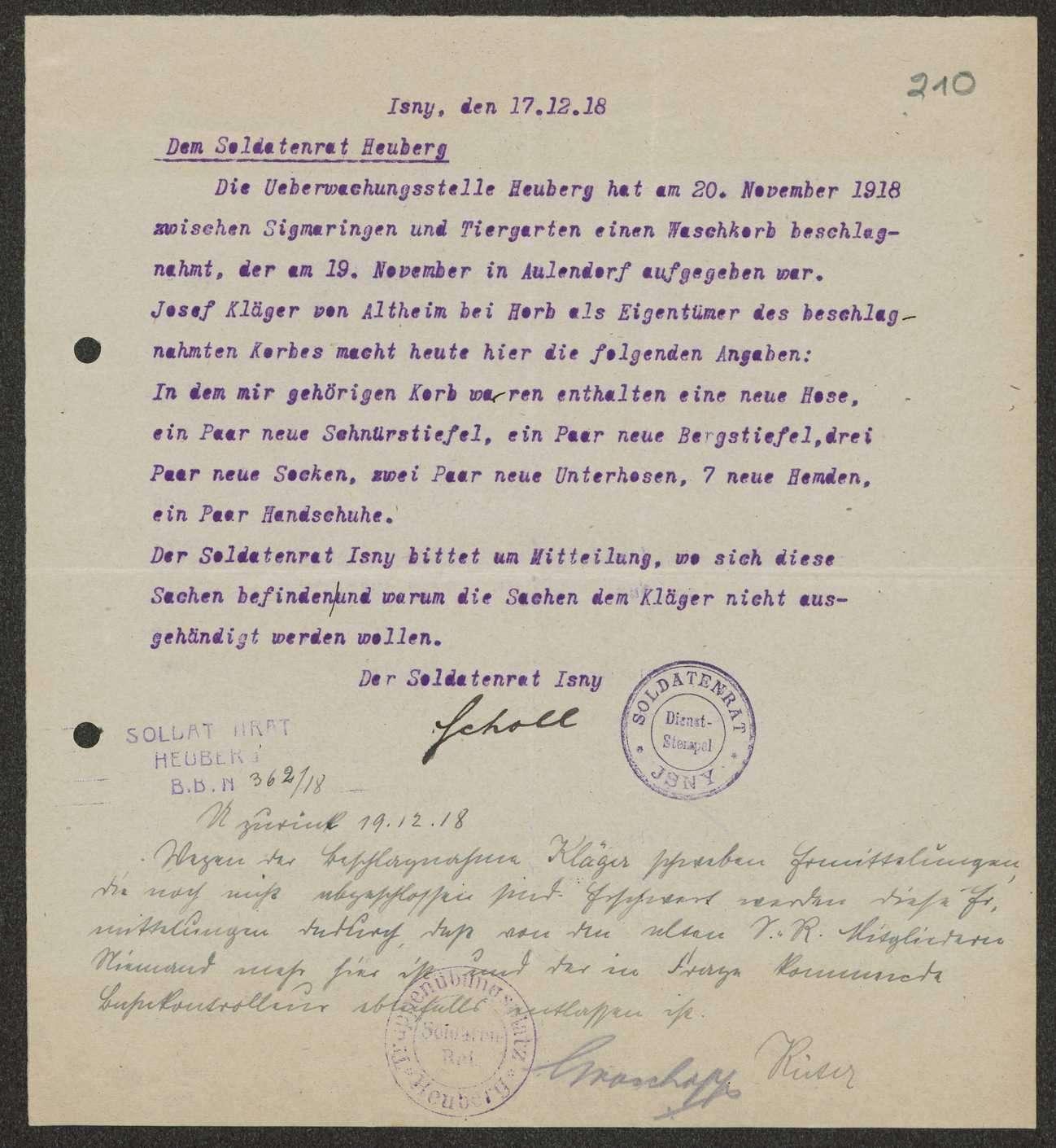 Beschlagnahme von Privateigentum durch Soldatenräte, Einzelfälle, Bild 2