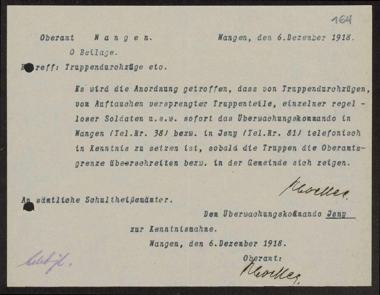 Truppendurchzüge, Militärpassantenliste, Rückkehr der Feldtruppen des Württembergischen Gebirgsregiments, Bild 1