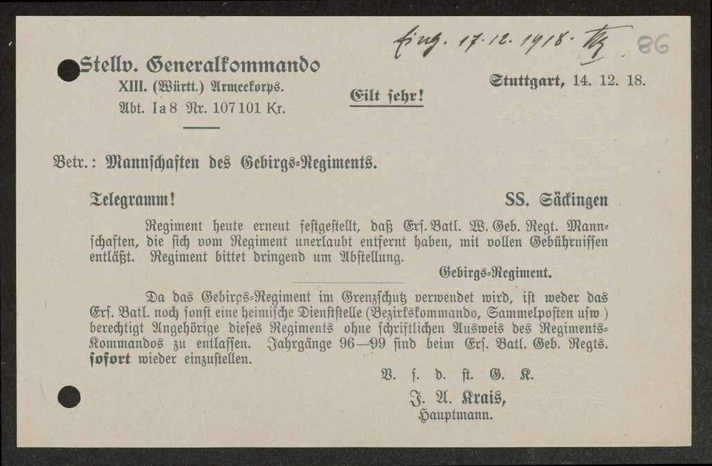 Allgemeine Bestimmungen über die Entlassung von Mannschaften des Gebirgsregiments, Bild 3