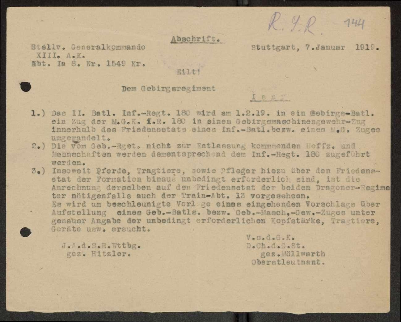 Auflösung des Gebirgsregiments, Überführung von Mannschaften zum Infanterie-Regiment Nr. 180, Bild 2