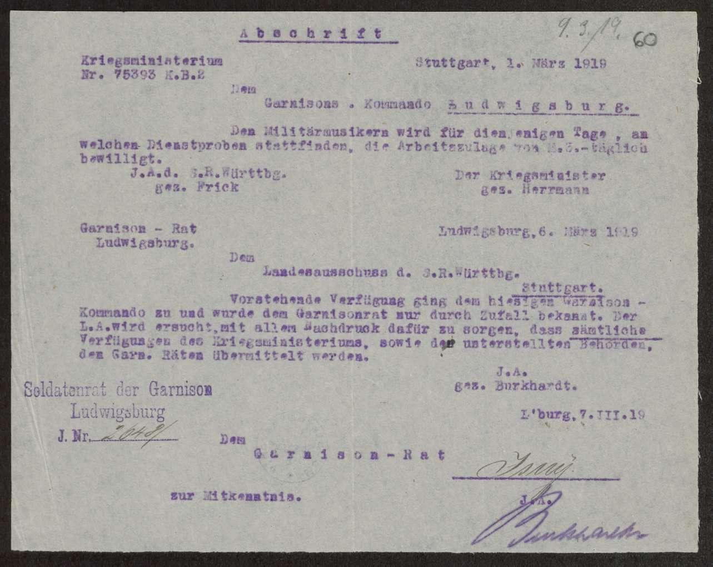 Bitte um Zusendung amtlicher Verfügungen an die Truppenteile und Räte, Bild 3