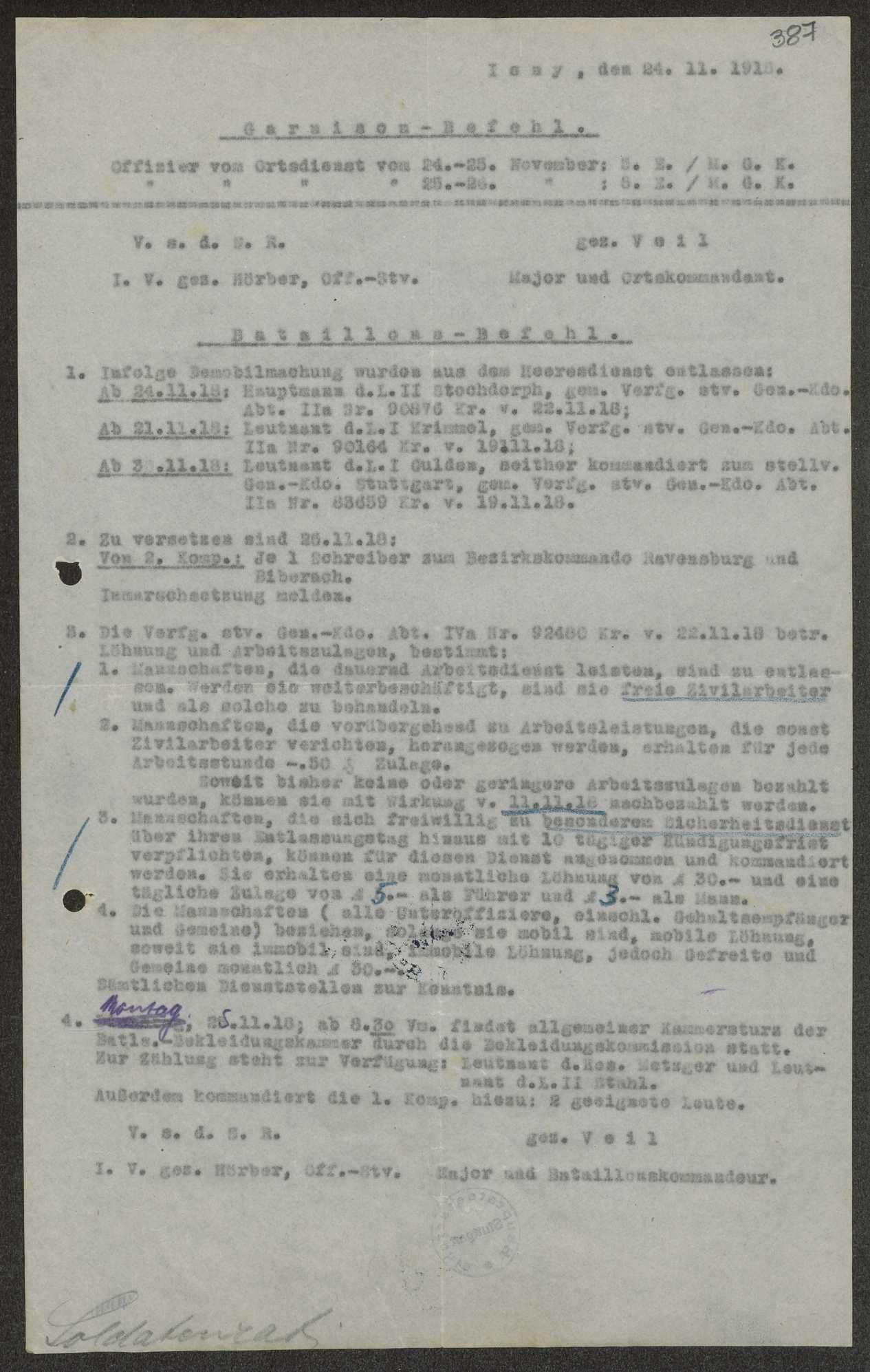 Garnisons- und Bataillonsbefehle des Ersatz-Bataillons des Gebirgsregiments, Bild 2
