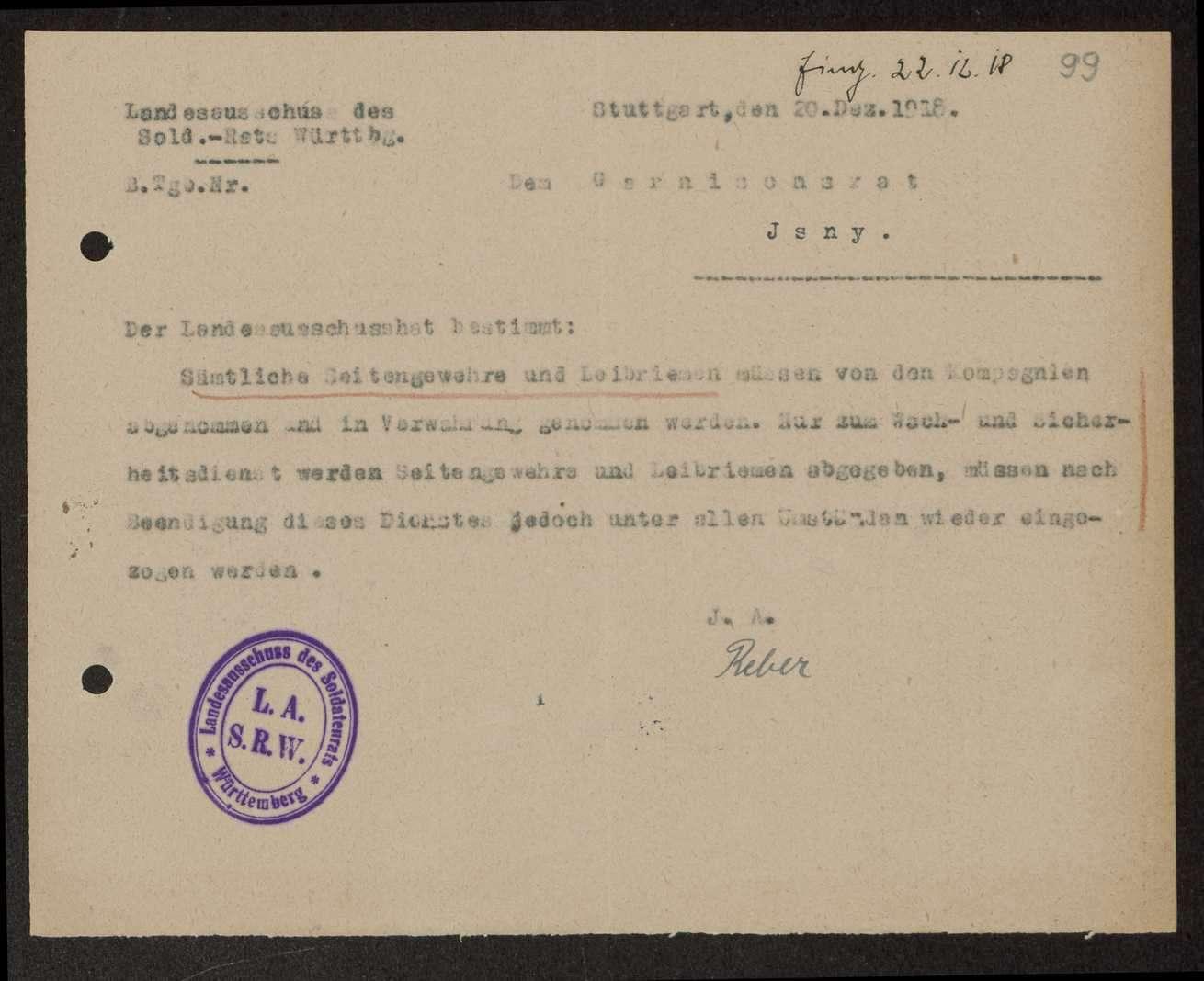 Bestimmung des Landesausschusses der Soldatenräte über das Tragen von Seitengewehren und Leibriemen, Bild 3