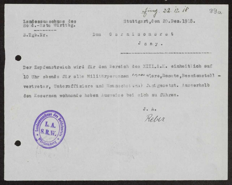 Bestimmungen des Landesausschusses der Soldatenräte über den Zapfenstreich, Bild 1