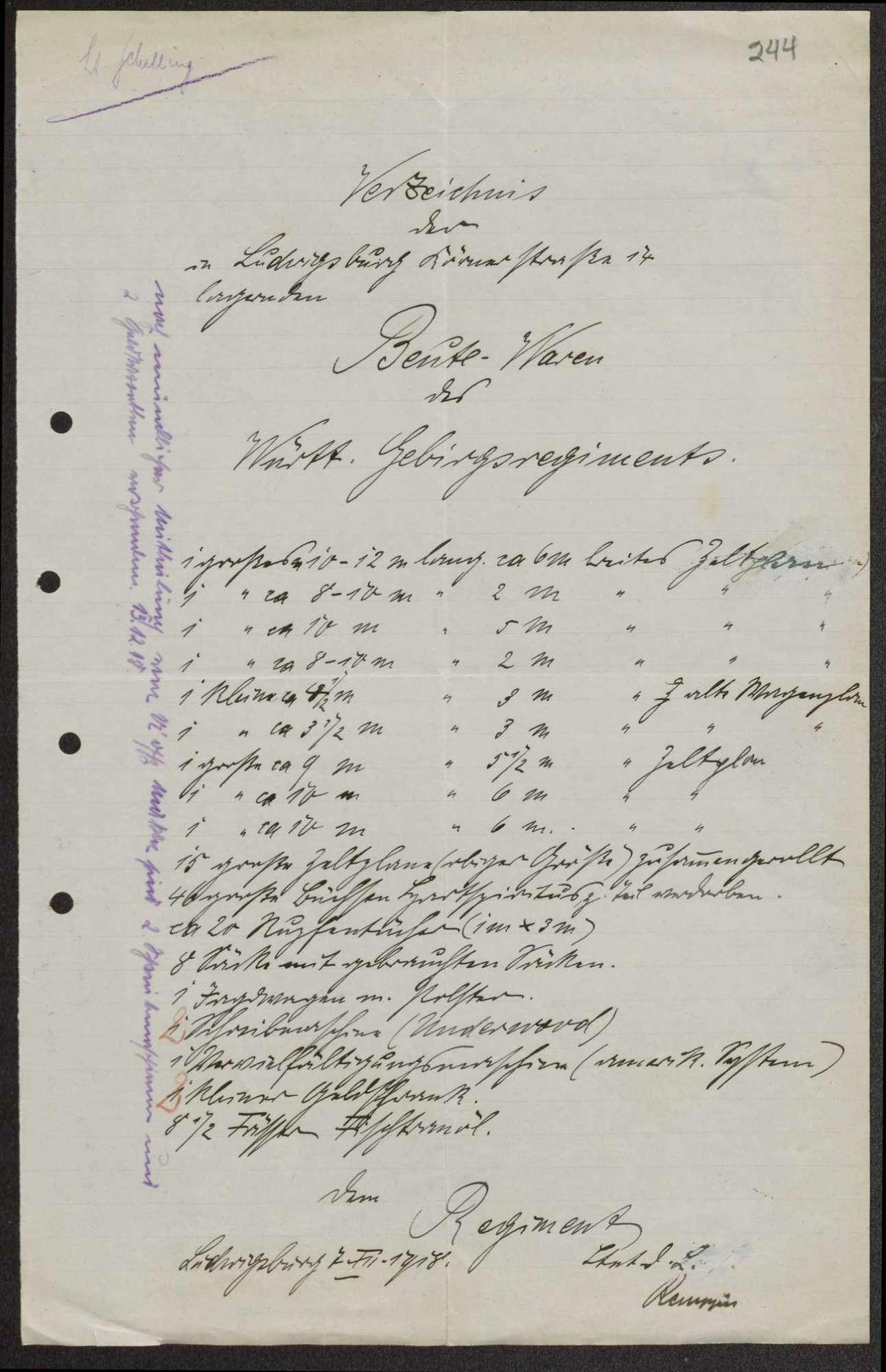 Verzeichnis der in Isny und Ludwigsburg lagernden Beutewaren des Württembergischen Gebirgsregiments, Bild 2