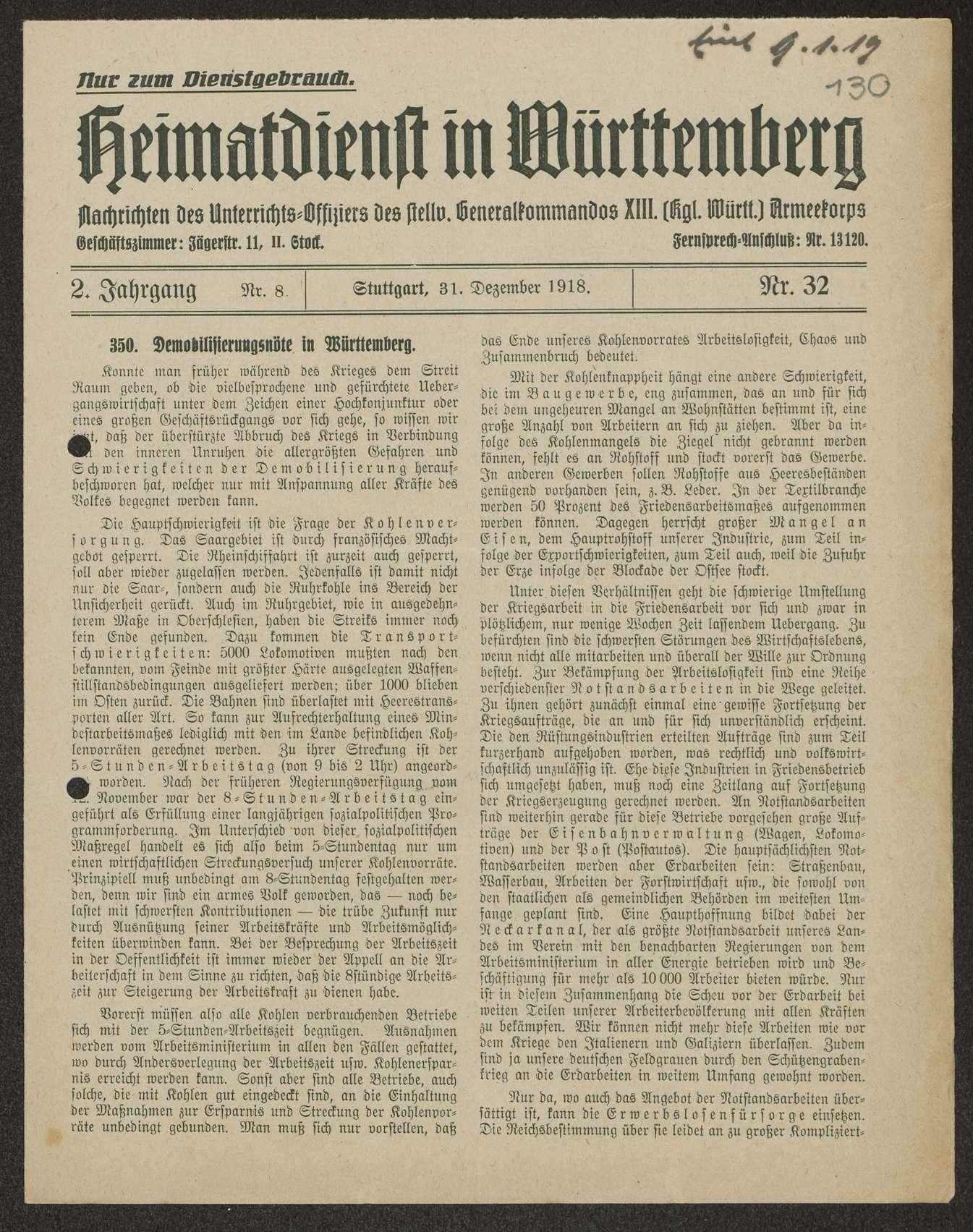 Heimatdienst in Württemberg, Nachrichten des Unterrichtsoffiziers des stellvertretenden Generalkommandos XIII. Armeekorps, Bild 1