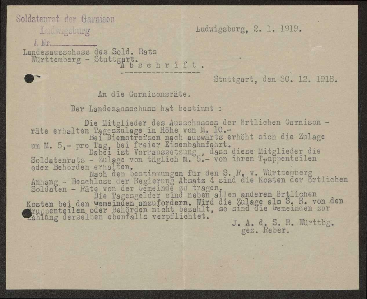 Festlegung der Tageszulagen für Soldatenratsmitglieder, Bild 1