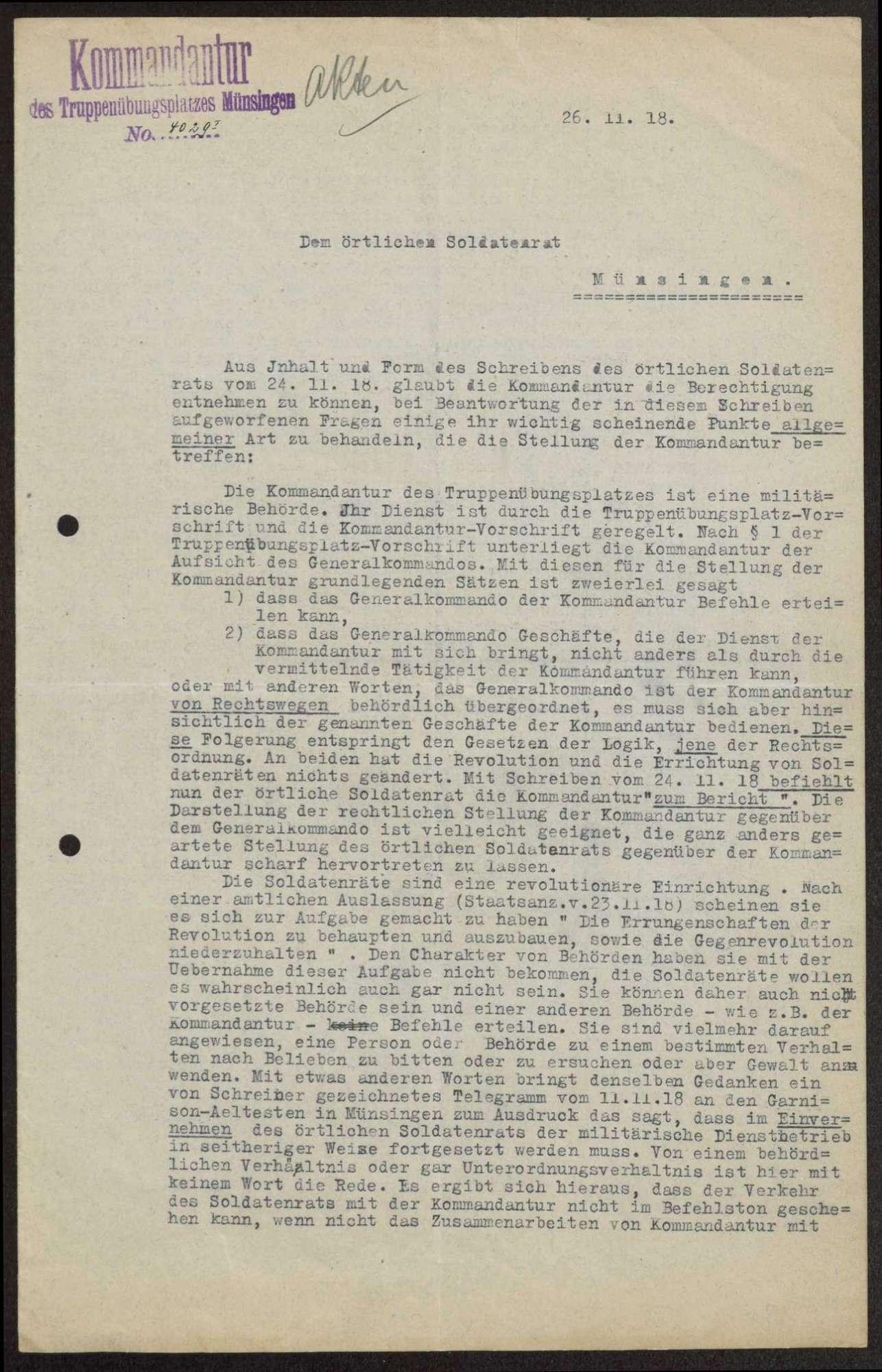 Stellungnahme der Kommandantur des Truppenübungsplatzes über die Kompetenzen des Soldatenrats, Rückgabe von Gerichtsakten, Gegenzeichnung des ausgehenden Schriftguts, Bild 2