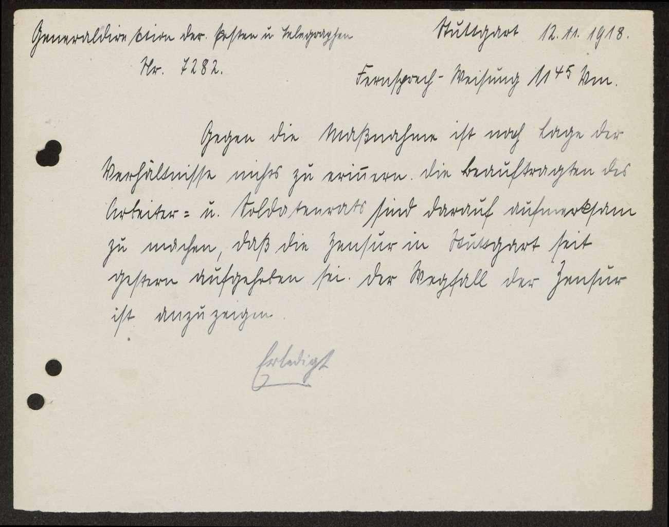 Mitteilung der Generaldirektion der Posten und Telegrafen über die Aufhebung der Zensur; Aufforderung zur Bekanntgabe an die Mannschaften, Bild 1