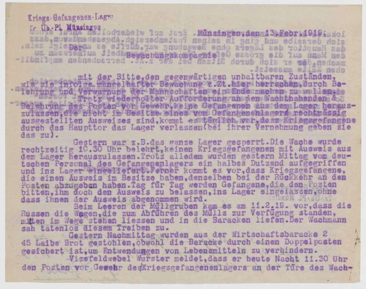 Mangelnde Einhaltung der Wachvorschriften, Überprüfung bzw. Verbesserung der Beleuchtung des Kriegsgefangenenlagers, Bild 1