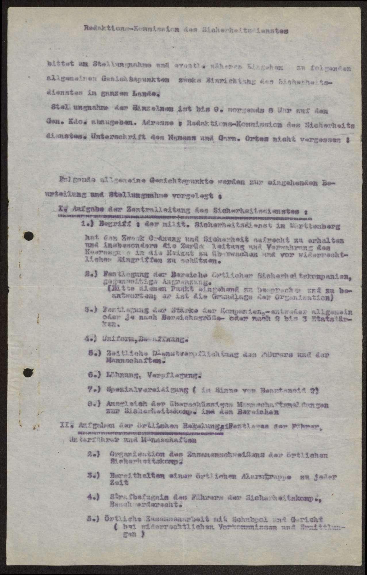 Aufbau, Organisation und Verwaltung des Sicherheitsdienstes in Württemberg, Bild 1