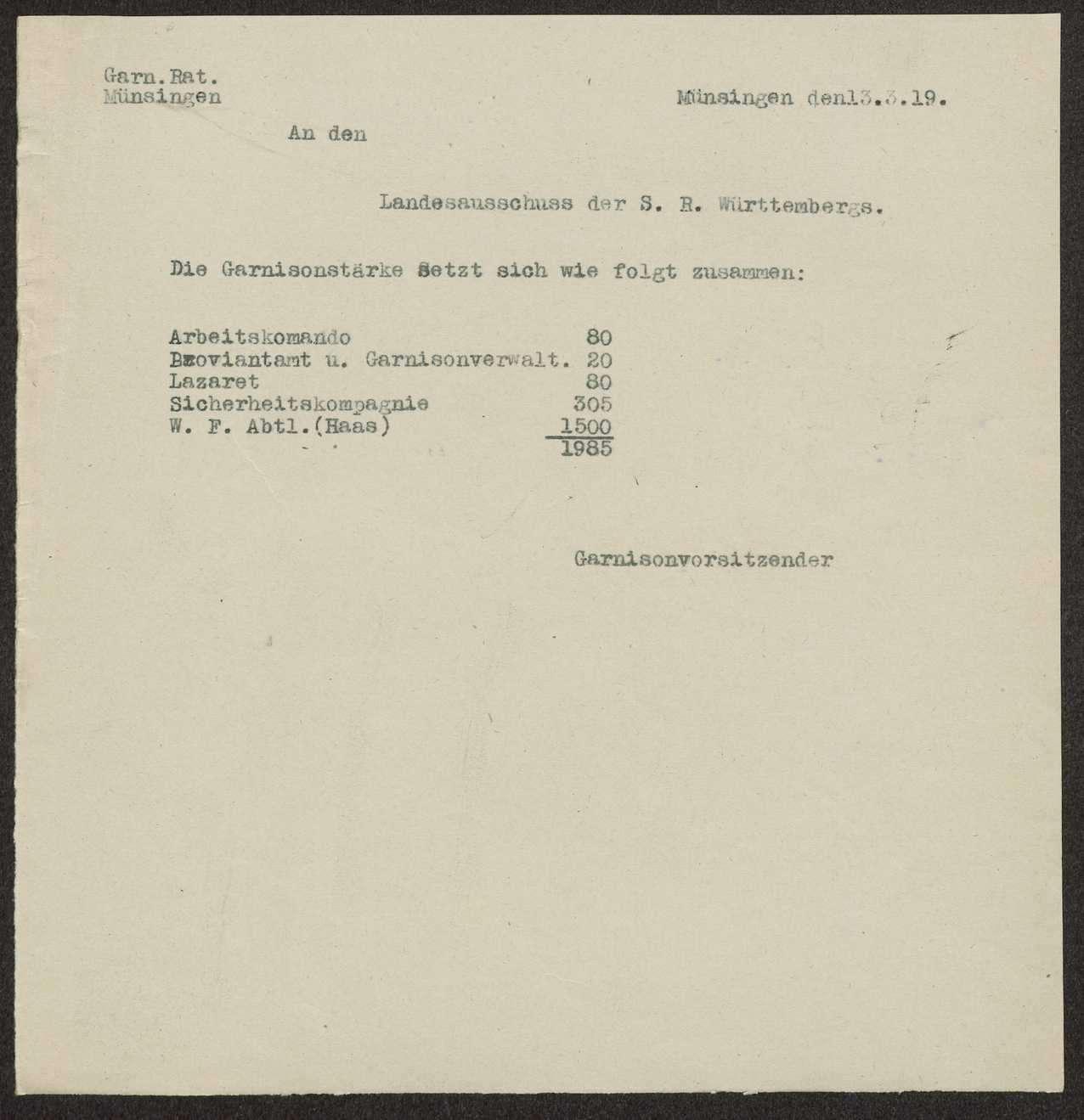 Iststärkemeldungen der Garnison Münsingen, Bild 2
