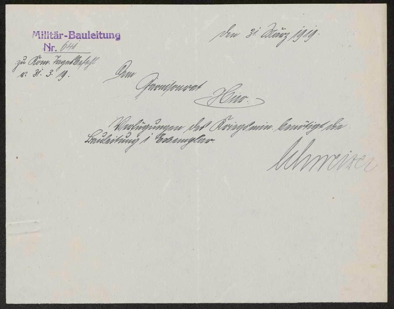 Weiterleitung von Verordnungen und Befehlen an die dem Soldatenrat unterstellten Militärbehörden, Bild 1