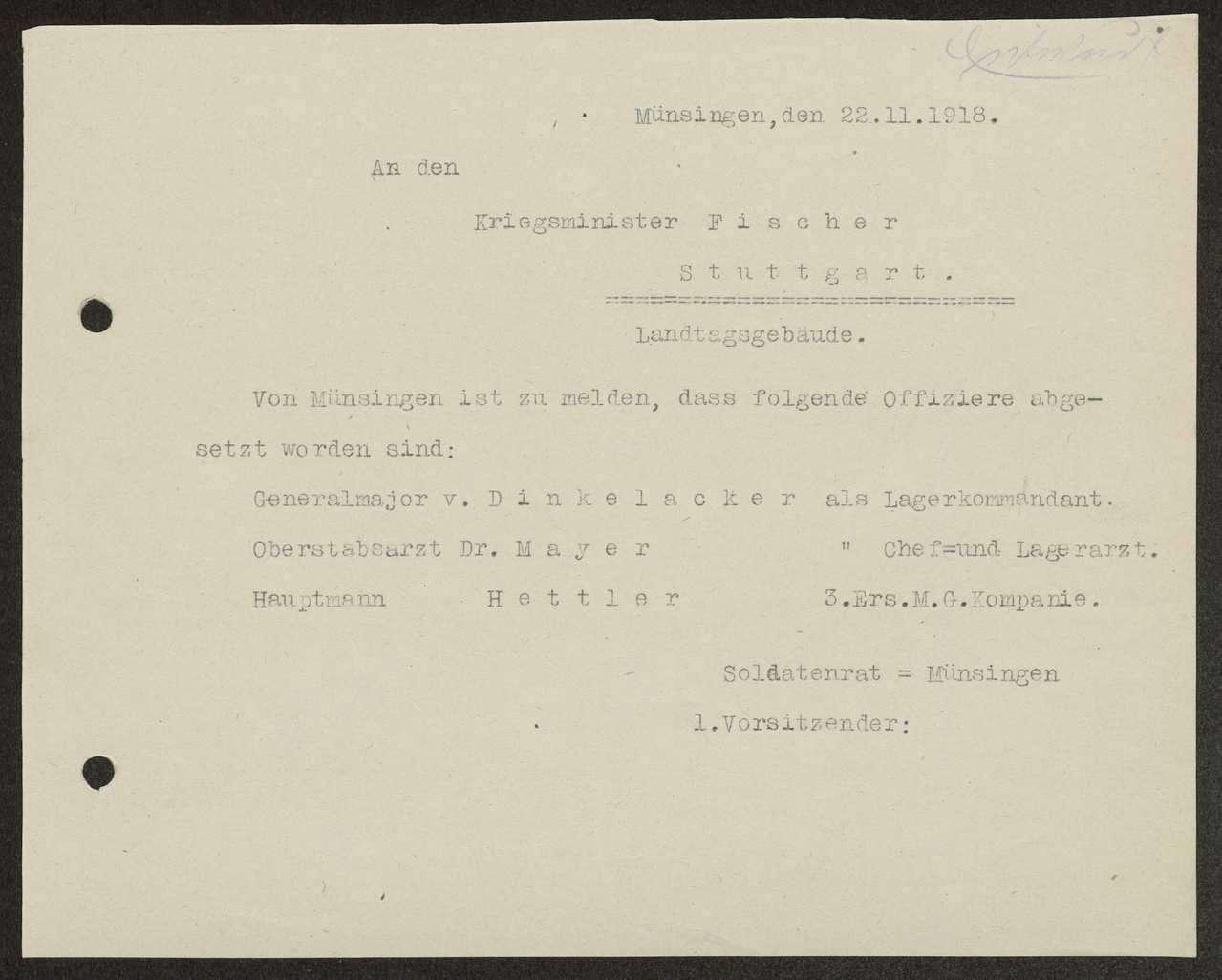 Meldung an den Kriegsminister über die Absetzung von Militärärzten und von Offizieren der Garnison Münsingen, Bild 1