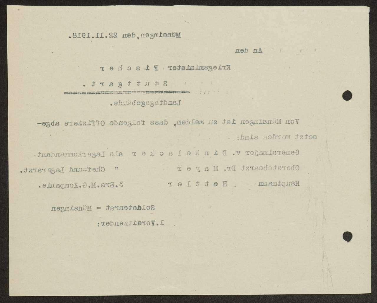 Meldung an den Kriegsminister über die Absetzung von Militärärzten und von Offizieren der Garnison Münsingen, Bild 2